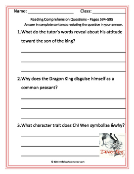 "Storytown ""Sons of Dragon King"" No-Prep Packet, Comp, Vocab, Paired Selections"