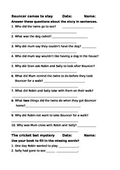 Storyworld Reading Comprehension Sheets - Stage 7