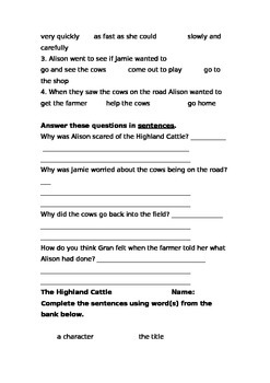 Storyworld Stage 8 Reading Comprehension Sheets