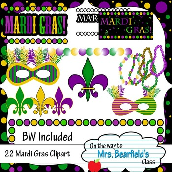 Mardi Gras Clipart - Black Line Included