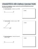 Straightedge and Compass Constructions Worksheet