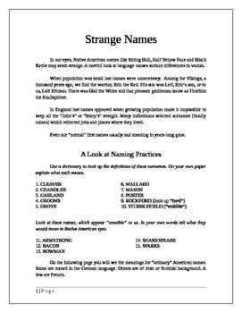 Native Americans: Strange Names