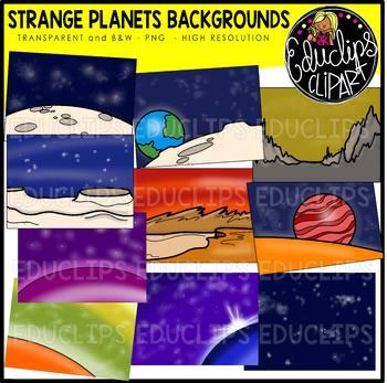 Strange Planets Backgrounds Clip Art Bundle {Educlips Clipart}