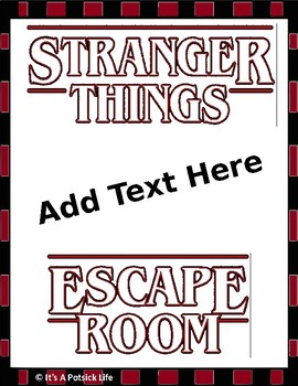 Stranger Things Escape Room - Editable - Any Subject Any Time of Year