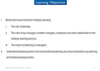Strategic Planning Issues