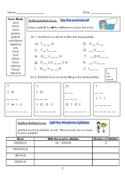 Strategic Spelling - ace & ice Workbook