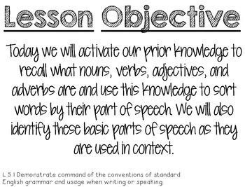 Strategic Teaching Lesson: Basic Parts of Speech