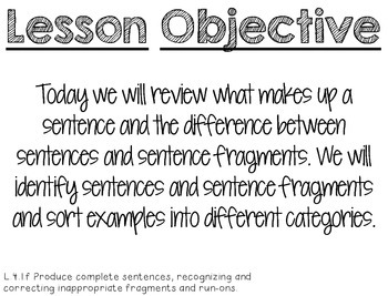 Strategic Teaching Lesson: Sentences and Sentence Fragments