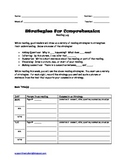 Strategies For Comprehension Reading Log