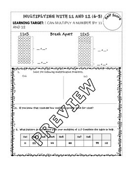 Strategies and Practice with Multiplication (enVision Topic 6) scaffolded notes