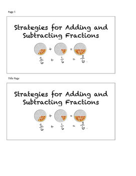 Strategies for Adding and Subtracting Fractions- Interactive Student Notebook