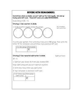 Strategies for Dividing with Remainders