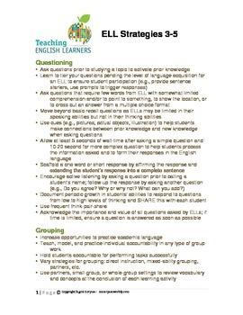 Strategies for ELLs 3-5