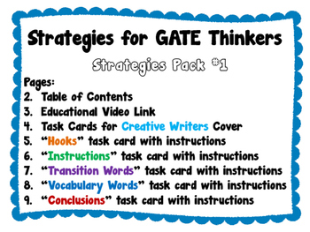 Strategies for GATE Thinkers Bundle - Creative Writers and Providing Choice