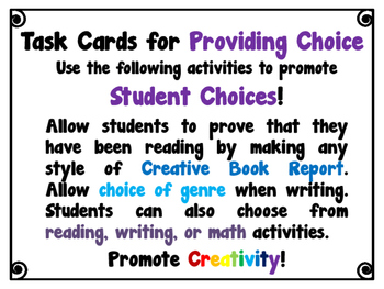 Strategies for GATE Thinkers - Pack 2 - Task Cards for Providing Choice