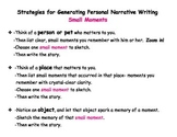 Personal Narrative Writing Poster, Strategies for Generating Small Moments