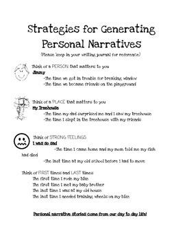 Strategies for Generating Personal Narratives