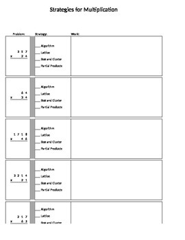 Strategies for Multiplication