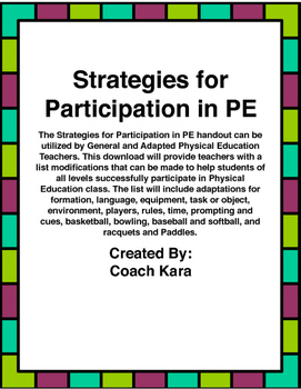 Strategies for Participation in PE (GPE & APE)