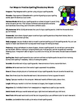 Strategies for Spelling Practice