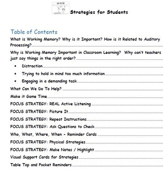Strategies for Student with Auditory Processing and Other