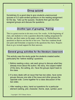 Strategies for Group Work in Literature Class