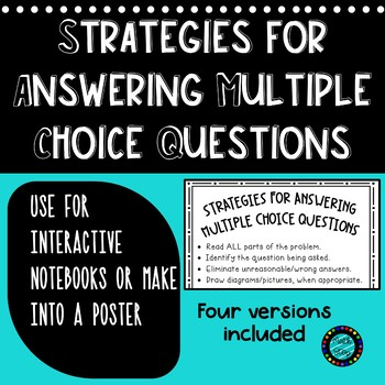 Strategies for Answering Multiple Choice Math Tests Poster/ISN by ...