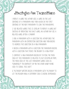 Strategies for Transitions