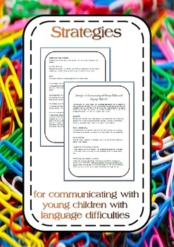 Strategies for communicating with young children with language difficulties