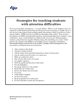 Strategies for teaching students with attention difficulties