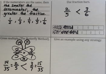 Strategies to Compare and Order Fractions - Student Anchor Chart