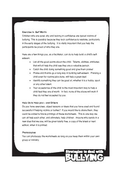 Strategies to Deal with Bullying Worksheets