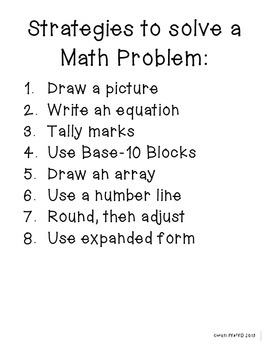 Strategies to Solve a Math Problem