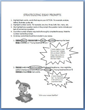 """Essay Writing: Strategizing Essay Prompts/ 'YOUNG GOODMAN BROWN"""" PROMPTS"""