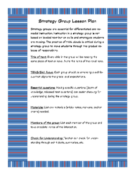 Strategy Group Lesson Plan Form