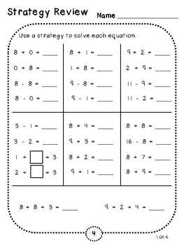 Strategy Review-Student Pages (First Grade, 1.OA.6)