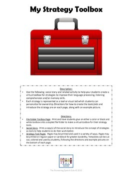 Strategy Tool Box for Processing, Comprehension, and/or Memory skills