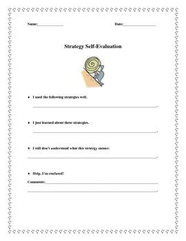 K-5 Strategy Usage Self-Evaluation Worksheet