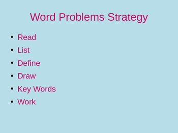Strategy and Activity for Word Problems