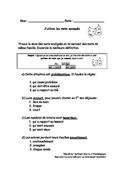 Stratégies de lecture : compréhension de mots - exercices