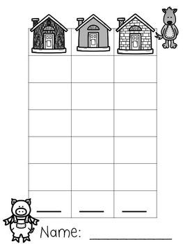 3 Little Pigs Math:  Straw, Sticks, Bricks?  Roll, Count, & Graph Activity