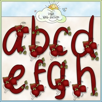 Strawberries Alphabet Clip Art (A - Z) - CU Colored Clip Art