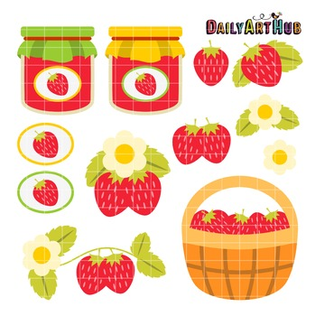 Strawberries Clip Art - Great for Art Class Projects!