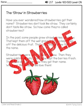 Reading Passages for Intervention with Comprehension and Audio (Strawberries)