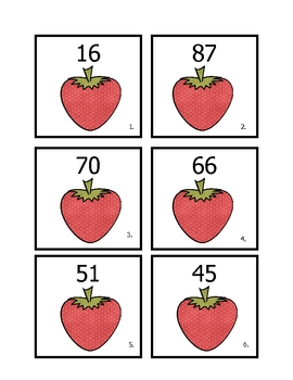 Strawberry 10 more, 10 less, 1 more, and 1 less
