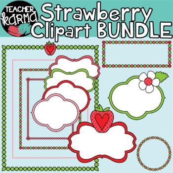 Strawberry Clipart BUNDLE: 55 pieces