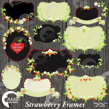 Strawberry Clipart, Floral Frames in Reds and Whites Clipart, AMB-525