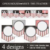 EDITABLE Banner Pennants -- Back-to-School & Open-House -- Pink Black White Grey