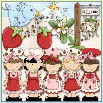 Strawberry Cuties Clip Art - Girls Clip Art - CU Clip Art & B&W