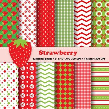 Strawberry Digital Paper & Clipart